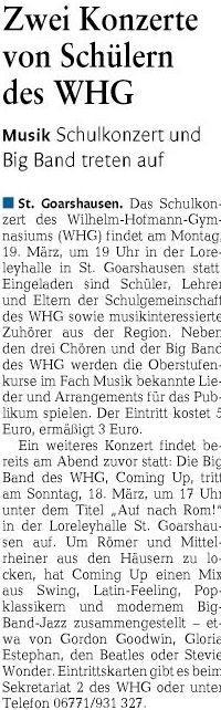 Ankündigung Bigband Konzert und Schulkonzert 2018