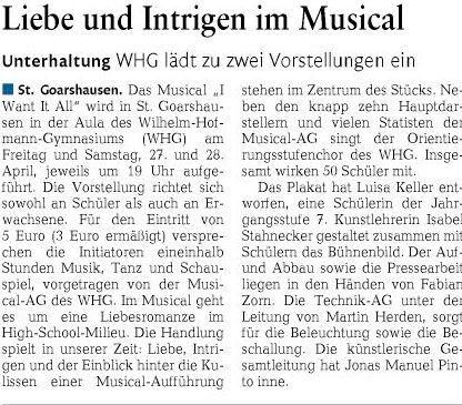 Ankündigung Musicalaufführungen 2018