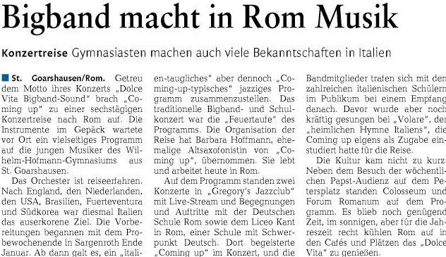 "Konzertreise ""Coming up"" nach Rom-Bericht"