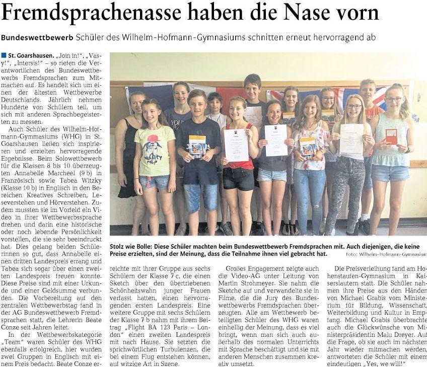Siegerehrung Bundeswettbewerb Fremdprachen 25.05.18