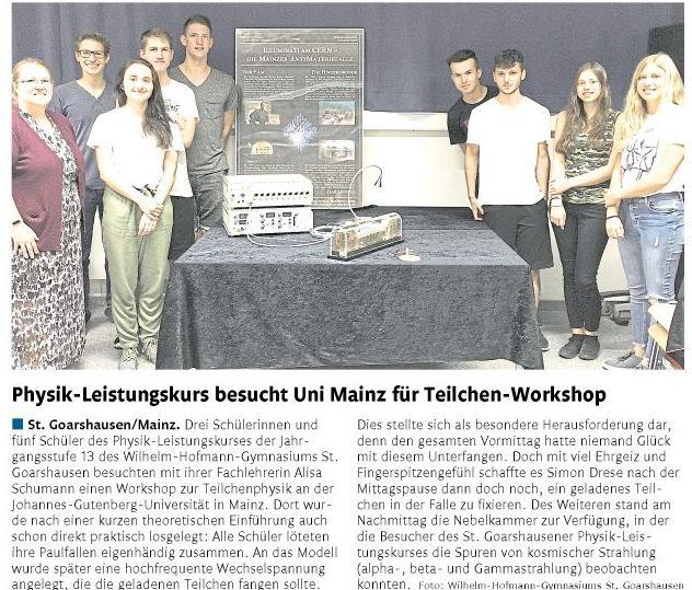 Workshop Teilchenphysik LK Physik MSS 13