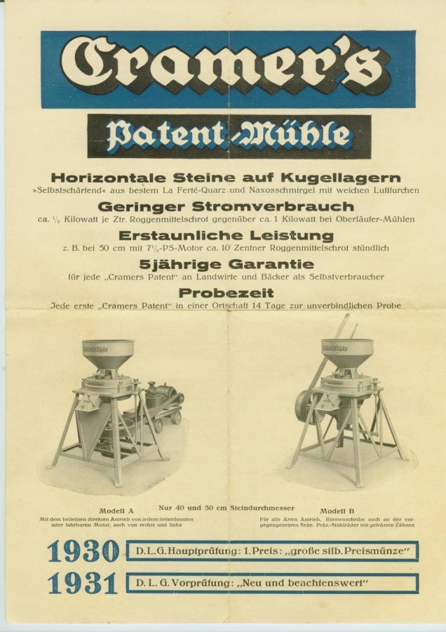 ca. 1930 Schrotmühle Cramer