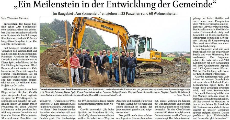 """Spatenstich zum neuen Baugebiet WA """"Am Sonnenfeld"""" in Fürstenstein"""