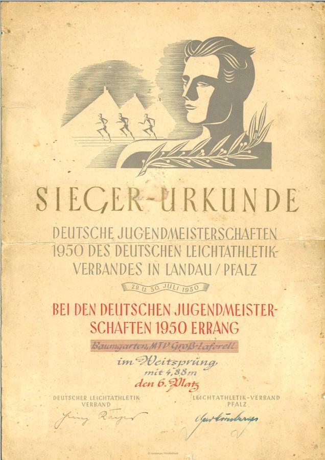Urkunde von Hanna Baumgarten von der Deutschen Jugendmeisterschaft in Landau/Pfalz (1950)