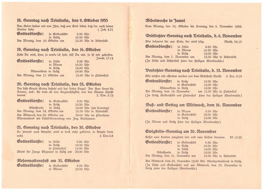 Gottesdienstplan 1955