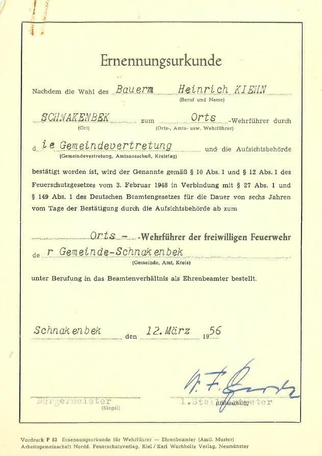 1956-03-12 Ernennungsurkunde Wiederwahl Kiehn