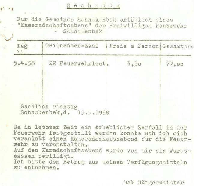 1958-04-05 Rechnung Kameradschaftsabend