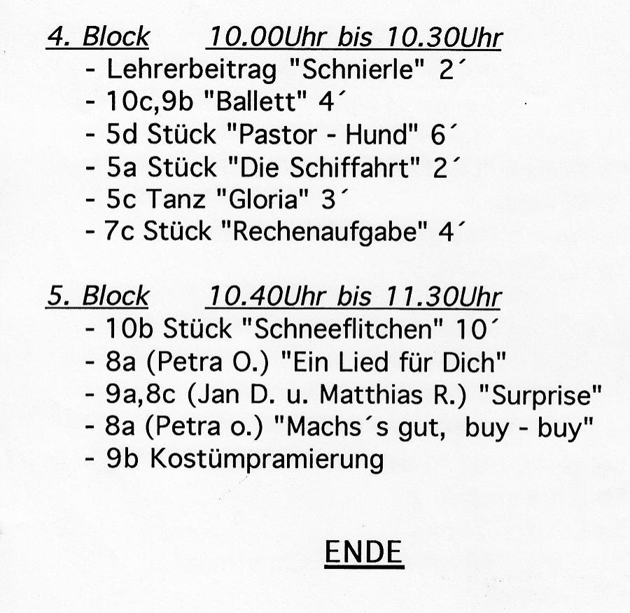 Weiberfastnacht 1993: Fragment des Programms