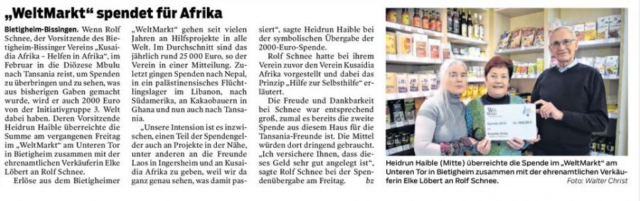 Bietigheimer Zeitung vom 23.01.2019
