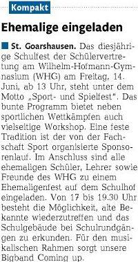 Pressemeldung Sport- und Spielfest + Ehemaligenfest