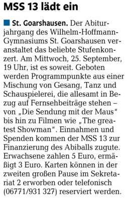 Ankündigung Stufenkonzert MSS 13 am 25.09.19