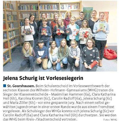 Vorlesewettbewerb der 6. Klassen im Fach Deutsch
