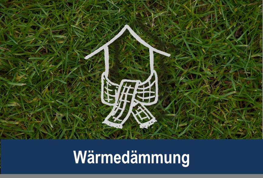 Link zu Wärmedämmung; Bild zeigt ein gezeichnetes Haus mit einem Schal um den Sockel auf Rasen