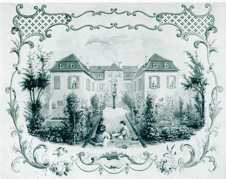 Barockes Ulnerschlösschen nach einem Aquarell von Charles Regnier, 1850