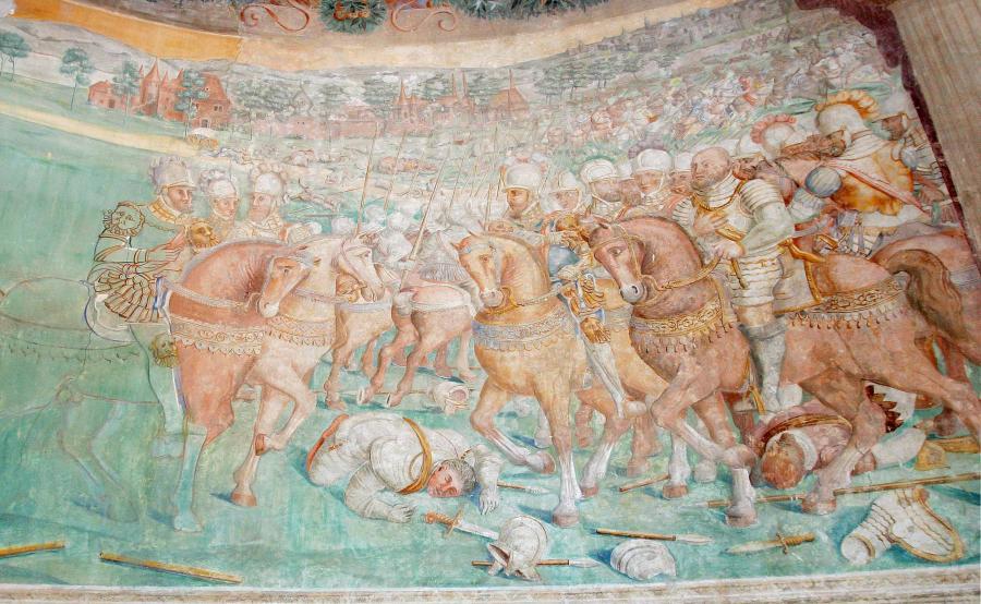 Der Herzog von Alba übergibt den gefangenen Kurfürsten an Kaiser Karl V., Wandbild in Alba de Tormes (Spanien), nach 1550
