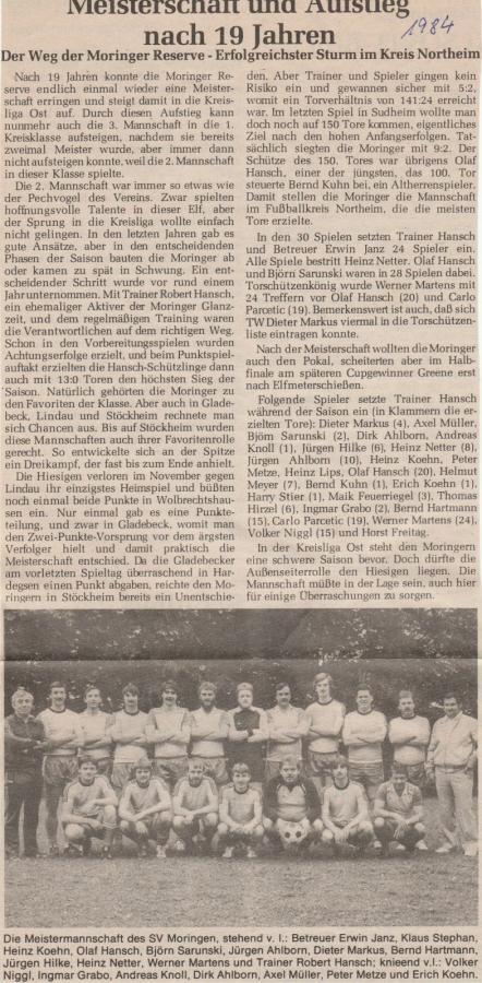 2.Herren Staffelmeisterschaft 1983-84