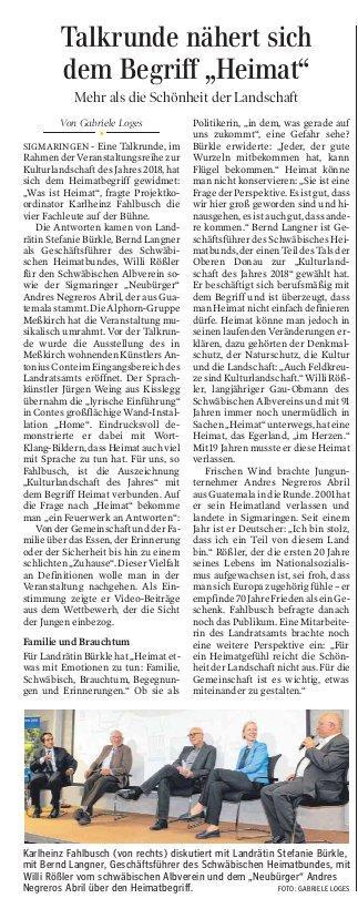 Schwäbische Zeitung 20. Oktober 2018