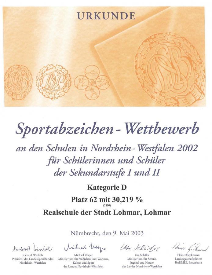 Urkunde im Sportabzeichen-Wettbewerb 2002
