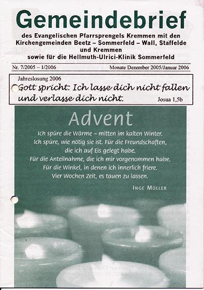 Gemeindebrief Dezember 05 / Januar 06