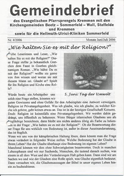 Gemeindebrief Juni / Juli 2006
