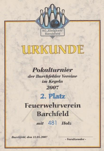 2007.05.11 Urkunde Kegelturnier 2007