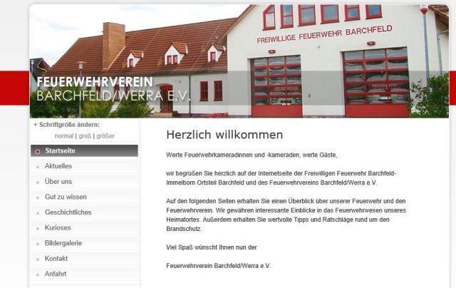 Startseite des Internetauftritts der Barchfelder Wehr und des Feuerwehrvereins