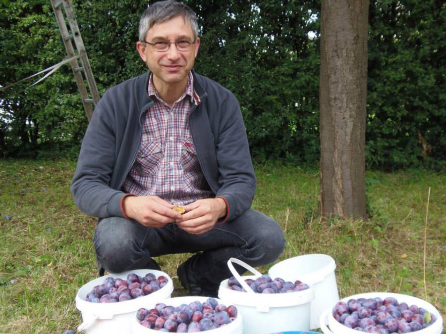 Wolfgang Gornik mit Teilen des von ihm gesammelten Obstes.