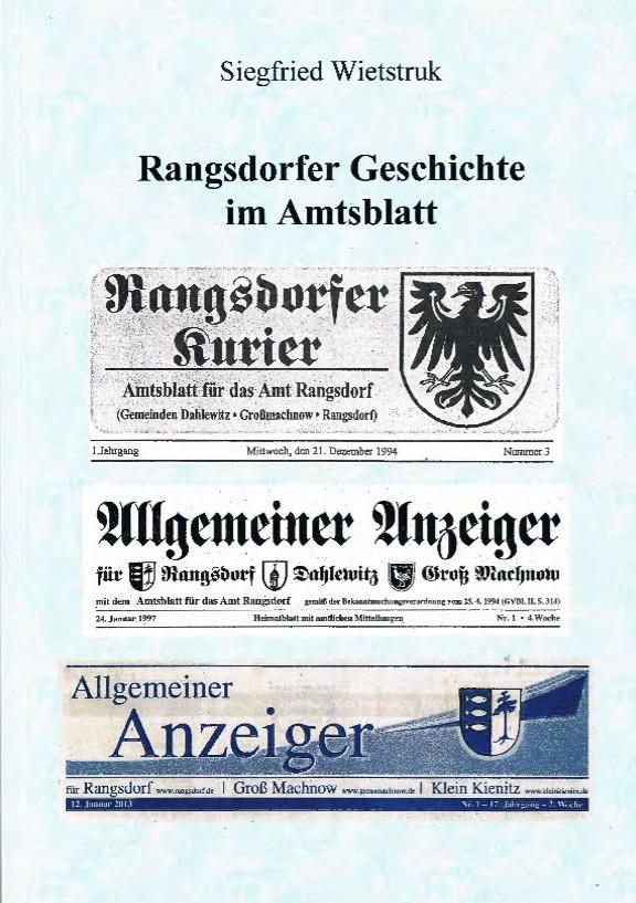 © Foto: Titelseite des Buches Rangsdorfer Geschichte im Amtsblatt 1. Auflage 2014