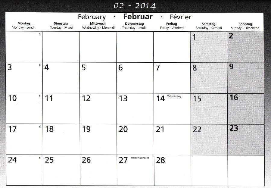 Schulkalender Februar 2014 B