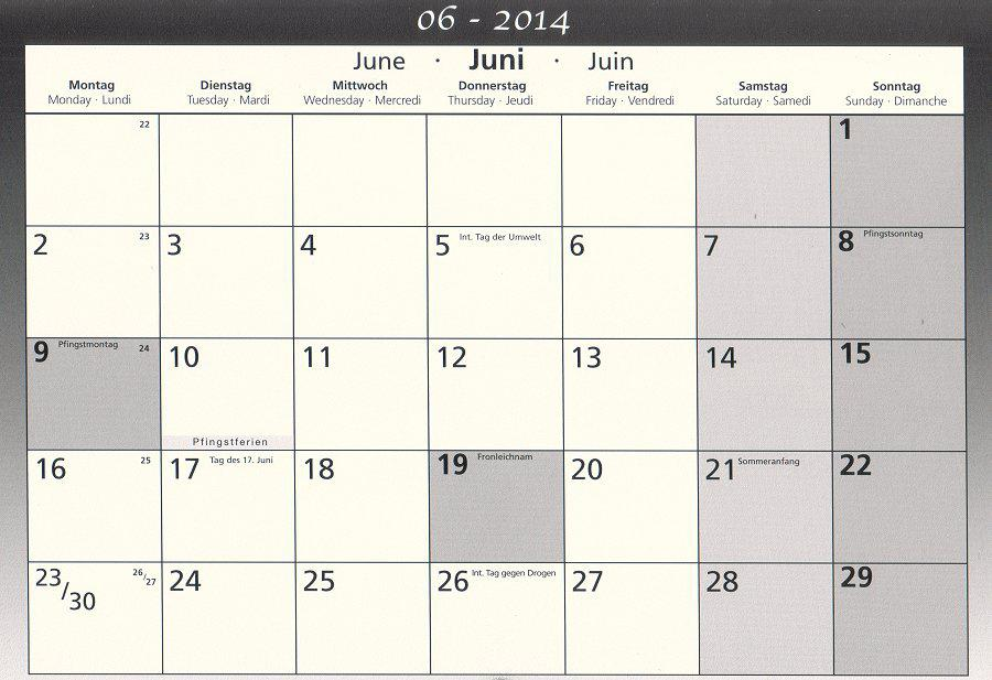 Schulkalender Juni 2014 B