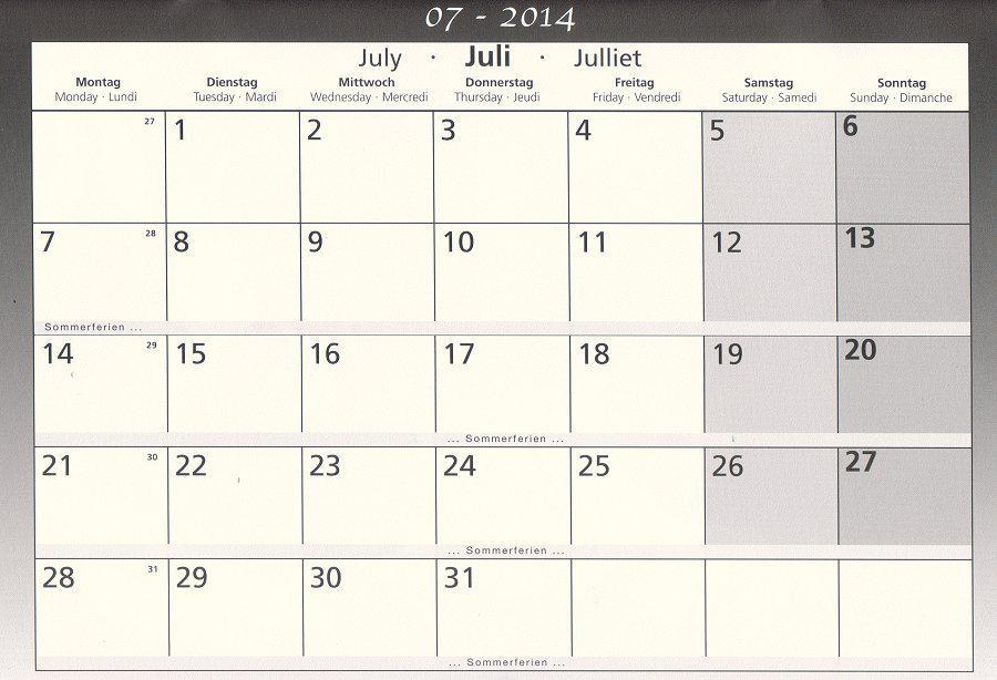 Schulkalender Juli 2014 B