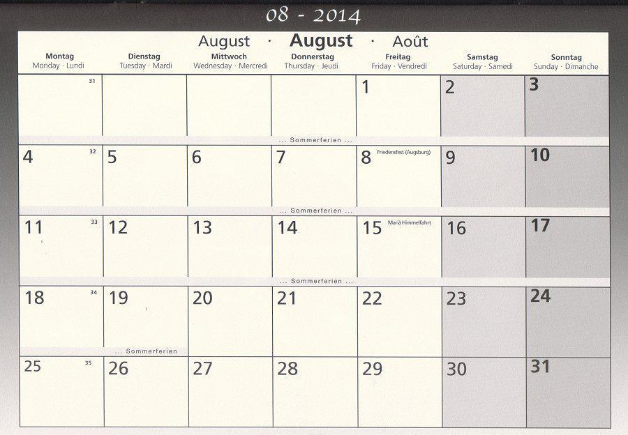 Schulkalender August 2014
