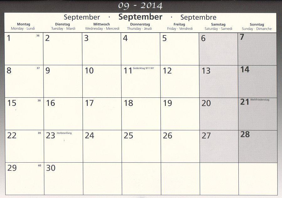 Schulkalender September 2014