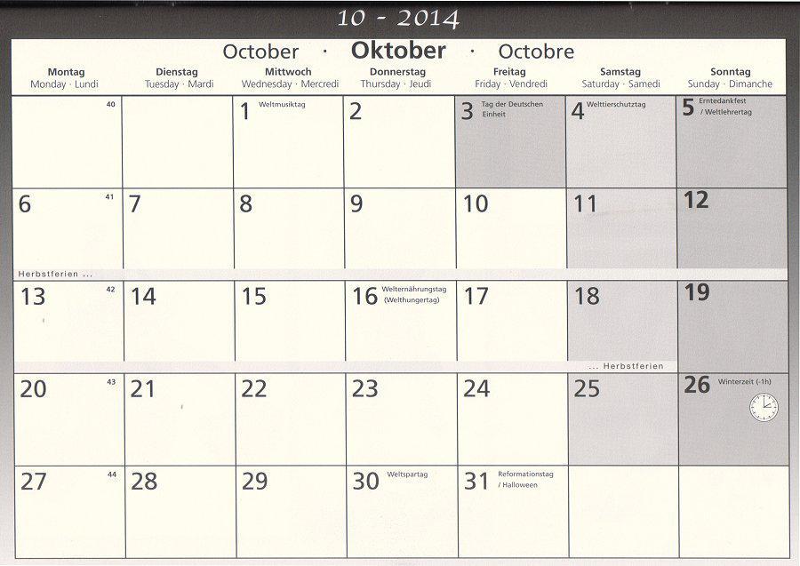 Schulkalender Oktober 2014