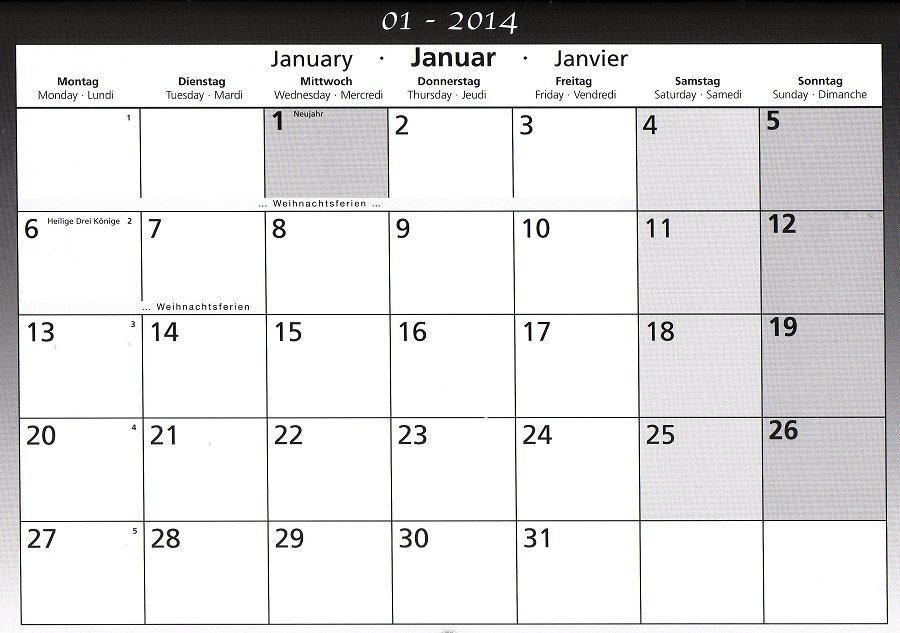 Schulkalender Januar 2014 B