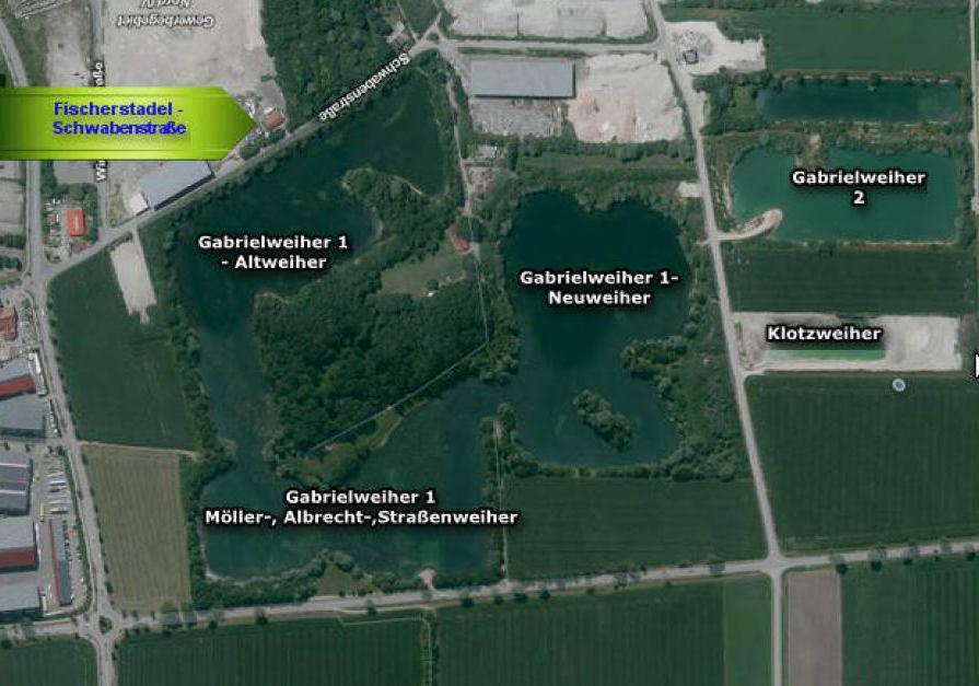 Luftbild mit den Gewässern des Fischereivereines Buchloe u. Umgeb. e.V.