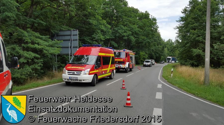 Einsatz 120/2015 VU PKW - PKW Friedersdorf Köpenicker Chaussee 23.07.2015