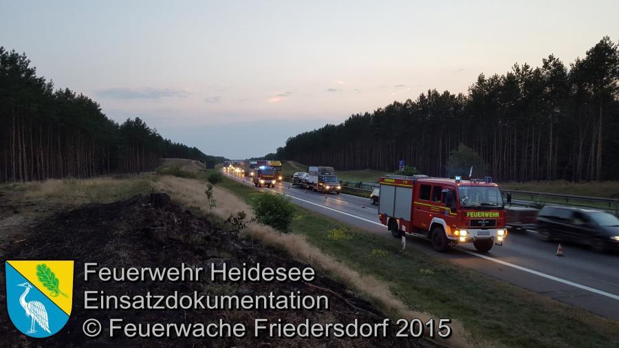 Einsatz 131/2015 Nachlöscharbeiten BAB 12 07.08.2015