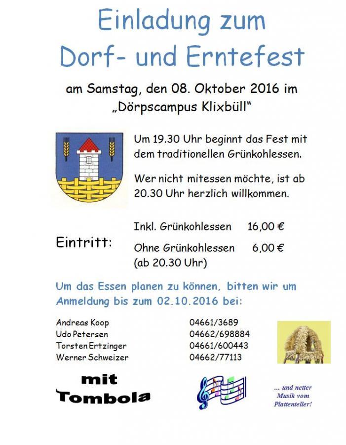 Einladung Erntefest 2016