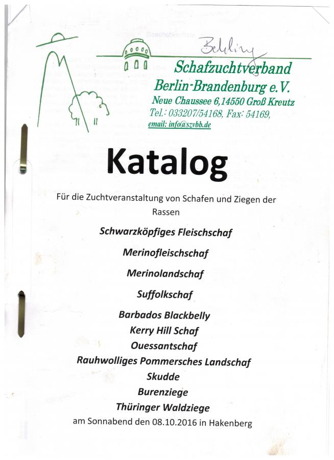 Deckblatt des Kataloges