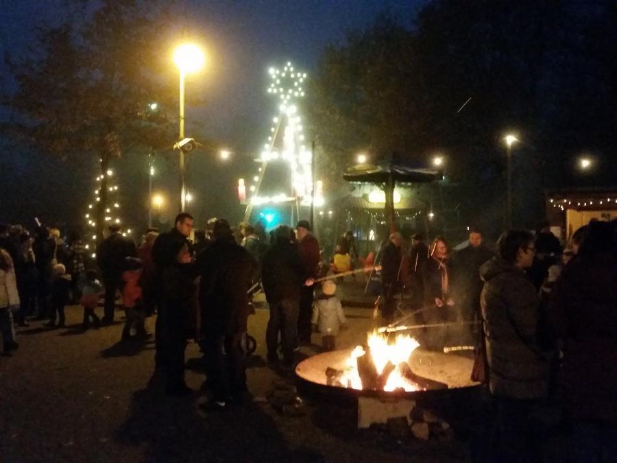 Feuerschale und Weihnachtsstern