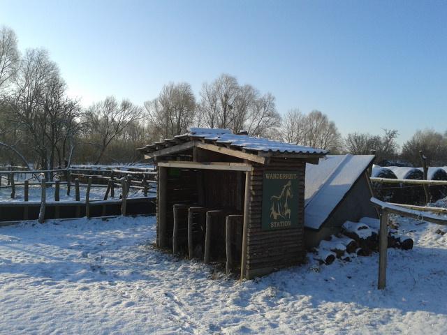 Unsere Wanderreitstation im Schnee