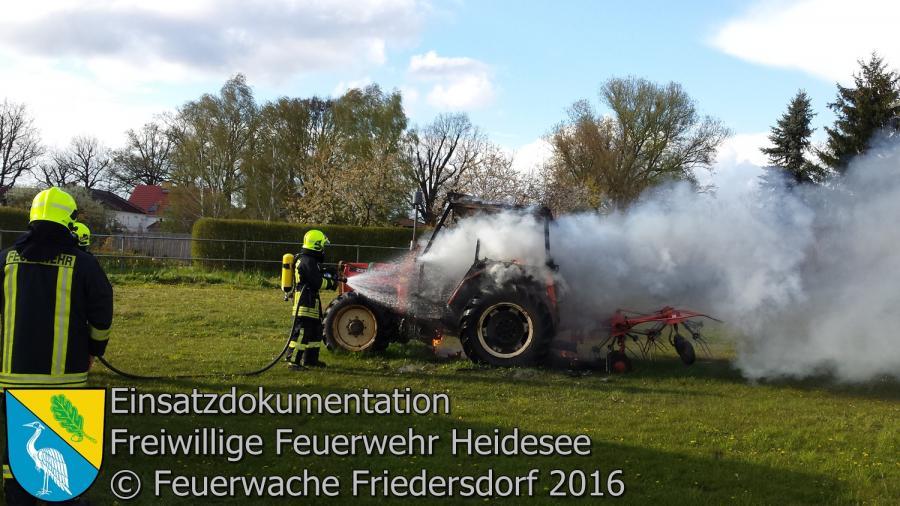 Einsatz 24/2016 | Traktor in Vollbrand | Friedersdorf Wilhelmstraße 28.04.2016