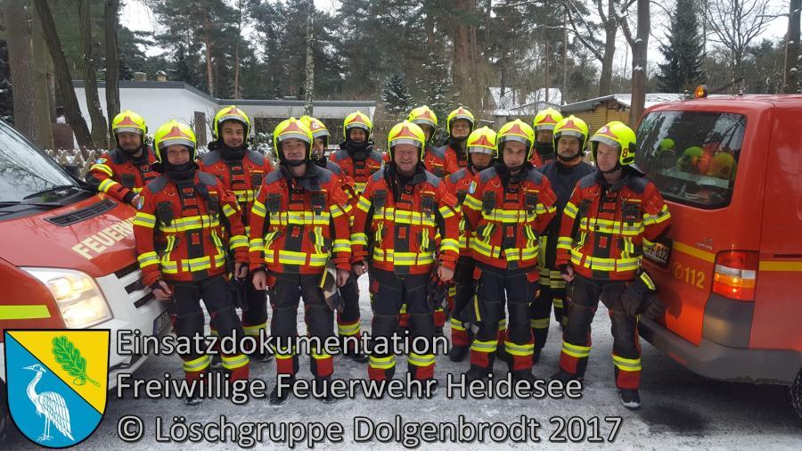 Einsatz 2/2017 | Lagerfeuer im Wald | Dolgenbrodt Bindower Chaussee | 07.01.2017 Der 1. Einsatz in der neuen Einsatzbekleidung!
