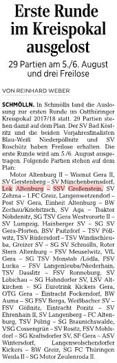20170710_OVZ_Fussball Lok-Männer müssen gegen SSV Großenstein im Kreispokal ran Bild1