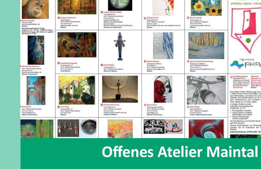 Link zu Offenes Atelier Maintal; Bild zeigt den Flyer