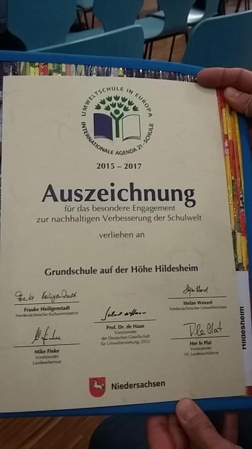 Erste Auszeichnungsurkunde 2017