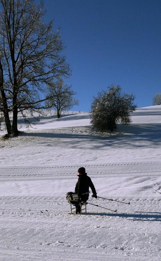 Athletin im Sitzki bei strahlendem Sonnenschein im Schnee