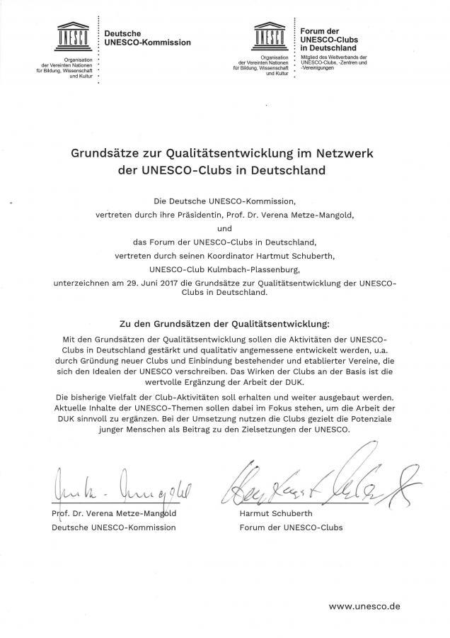 Urkunde zur Qualitätsentwicklung der UNESCO-Clubs
