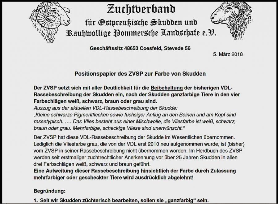 Positionspapier ZuchtVerband für Ostpreußische Skudden und ... vom 05.03.2018